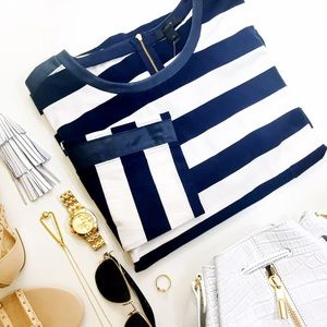 Striped Faux Leather Trim Top
