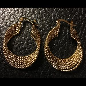Jewelry - 18k Gold Plated Over Brass Twisted Earrings