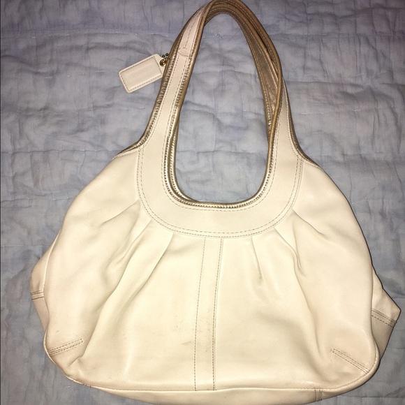Coach Handbags - Coach Cream Leather Purse- Gold Trim Purple Lining 5caf28e3c0be0