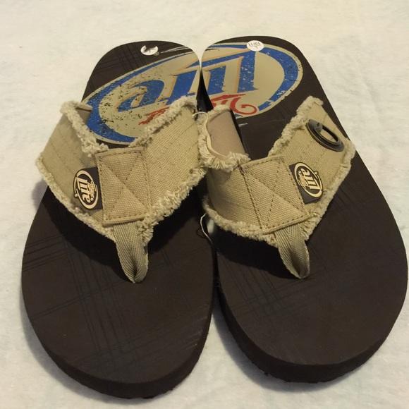 abe1c9ae19320f Miller Lite Beer Flip Flop Sandals