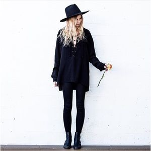 Tops - Black Lace Up Long Sleeve Collared Blouse