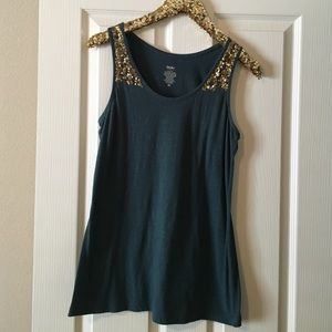 Mossimo Tops - Emerald Mossimo tank top with sequin detail