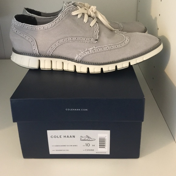 Cole Haan Zero Grand Wingtip Silver Canvas Shoes