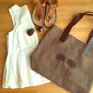 Chic canvas and leather tote
