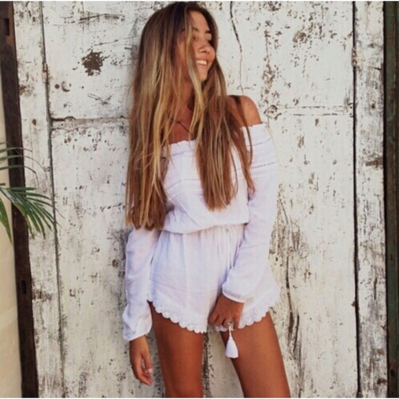 c617832a011 White Crochet Lace Trim Off Shoulder Romper