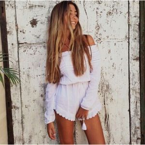 White Crochet Lace Trim Off Shoulder Romper