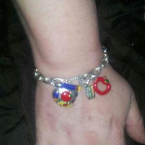 Jewelry - Silvertone charm bracelet for a teacher