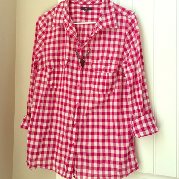 825bf32a0f0e1a GAP Tops | Hot Pink Gingham Shirt Adorable For Spring | Poshmark
