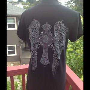 Angel Wing Cross VNeck~ XL