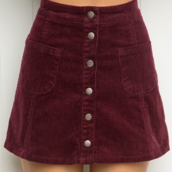 71bf55d1b6 Brandy Melville Dresses & Skirts - Brandy Melville Maroon Corduroy Button  Up Skirt