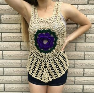 Tops - 💜Hand Knitted  Festival Top💜