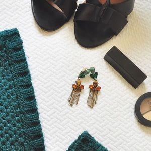 Mango Emerald Green Gold Drop Chain Earrings