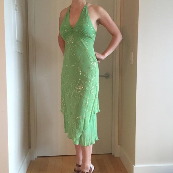 Bcbgmaxazria Dresses Bcbg Light Green Sequined Halter Dress 4 Poshmark,Long Sleeve Boat Neck Lace Wedding Dress