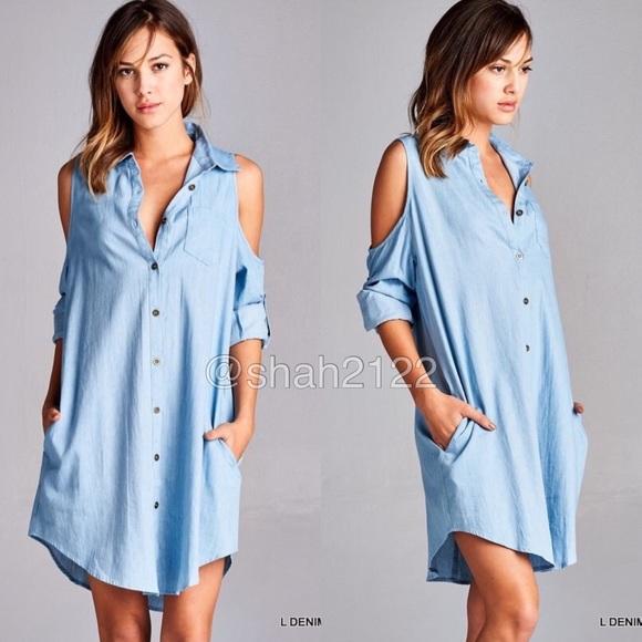 42cca8ef1cfc Denim open cold shoulder long sleeves shirt dress