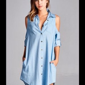 fab278f1e58f Boutique Dresses - Denim open cold shoulder long sleeves shirt dress