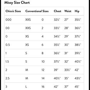 Chico s chico s size chart from holly s closet on poshmark