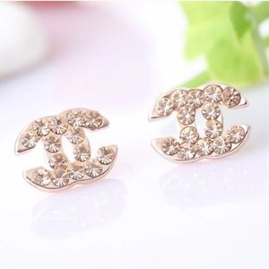 Double C Chanel Crystal stud earrings gold silver