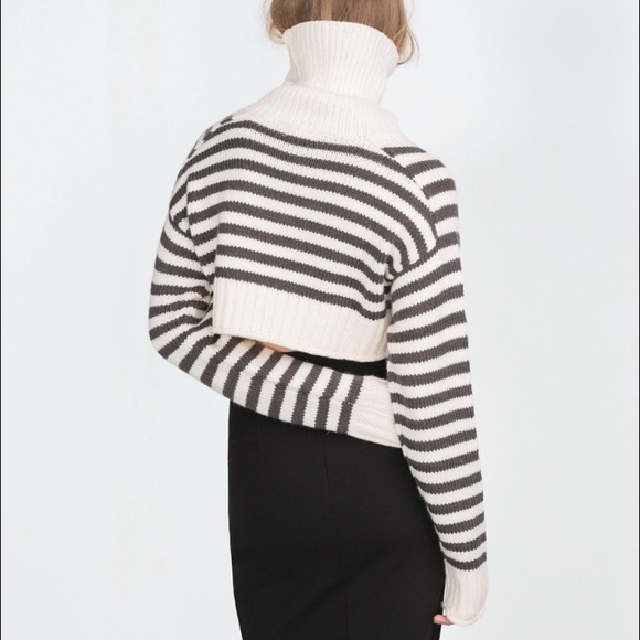 67% off Zara Sweaters - Zara TRF Cropped Striped Turtleneck ...