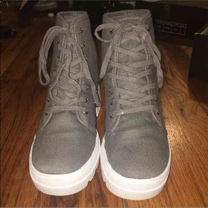 a882ffb46951 Forever 21 Shoes - Grey White Canvas Lug Platform Boots