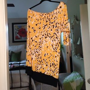 Emma and Michelle one sleeve yellow print dress.