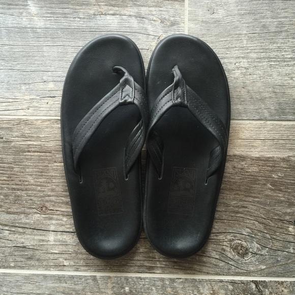 fdd3938837096 Island Slipper Shoes - Black Leather Island Slipper Size 10