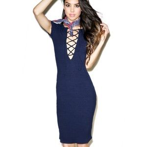 Dresses & Skirts - Navy Lace Up Ribbed Bodycon Midi Dress