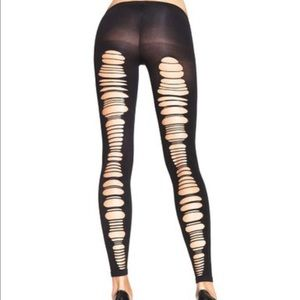 spandex shredded back opaque footless tights NIP