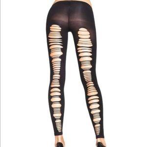 leg avenue Accessories - spandex shredded back opaque footless tights NIP