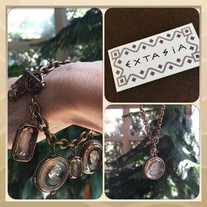 Authentic Extasia glass intaglio necklace set