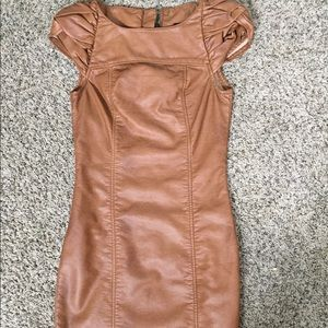 H&M brown faux leather mini dress in size 2