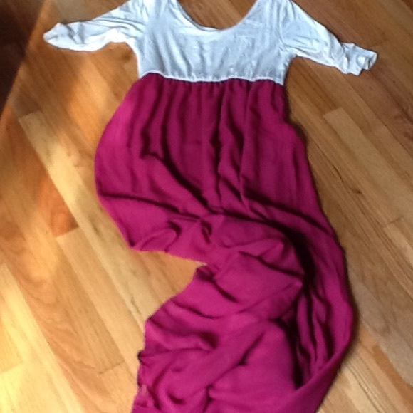 Burgundy chiffon color block maternity maxi dress 20c3aa2b6