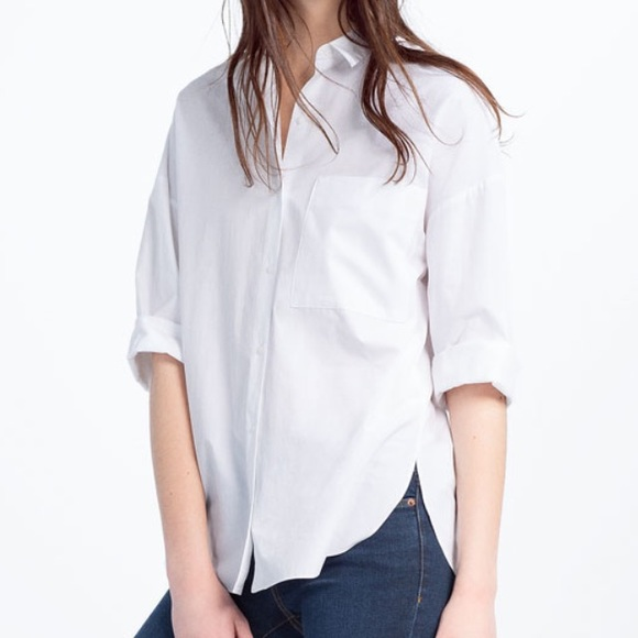 2e1c9f03b Zara white oversized poplin shirt NWT
