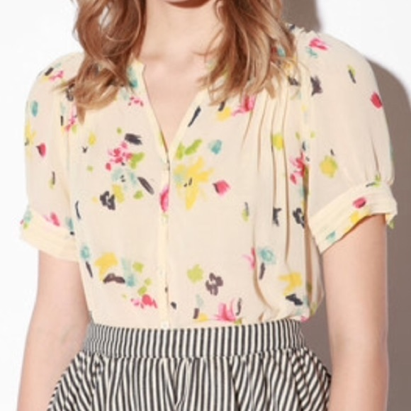 25f604645e1 Urban Outfitters Tops   Pins And Needles Floral Print Sheer Button ...