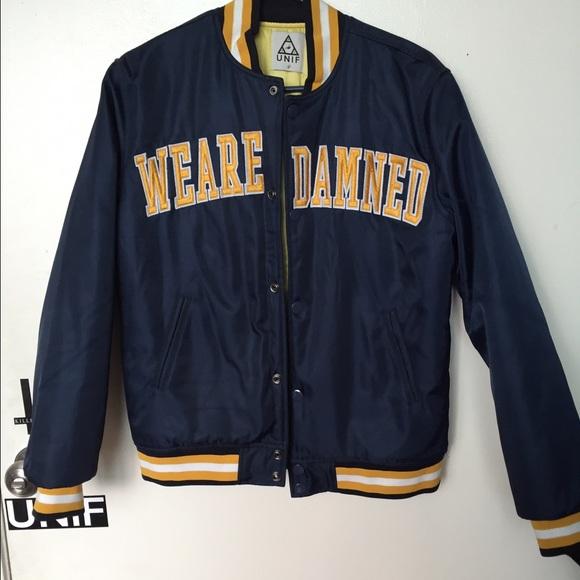 UNIF Jackets   Coats   We Are Damned Varsity Bomber   Poshmark 68a7fdbf7e