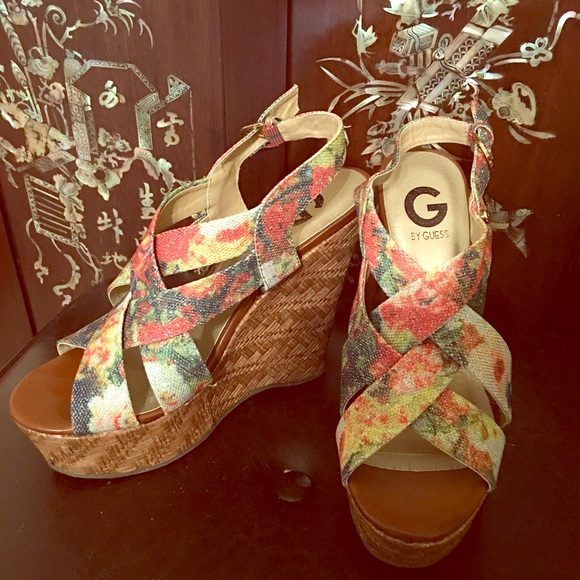 cd00485649c0 Guess Shoes - Guess Floral Wedges NWOT 7.5M or 8