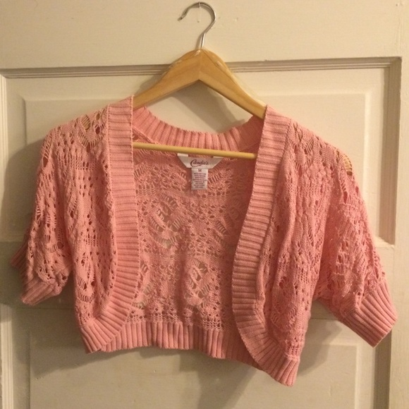 70% off Candie's Sweaters - Candies open-weave pink shrug sweater ...