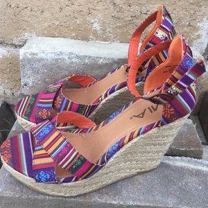 MIA Shoes - New! Mia Aztec Multi-Color Print Wedges Size 8.5