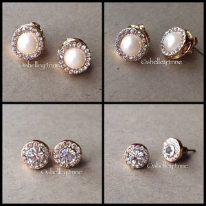 Jewelmint Jewelry - Faux Pearl & Pavé Stud Set