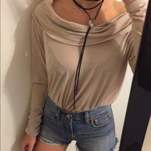 Boat Neck Taupe Long Sleeve Top