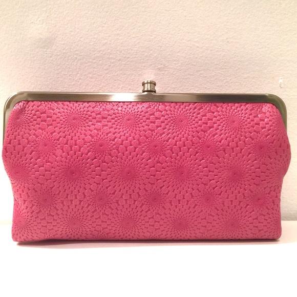 Hobo Bags Lauren Embossed Begonia Pink Double Frame Wallet Poshmark