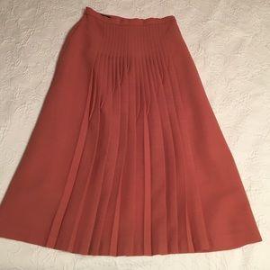 Dark salmon pleated skirt