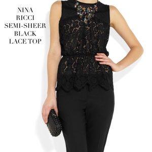 Nina Ricci Tops - NINA RICCI SEMI-SHEER BLACK LACE TOP