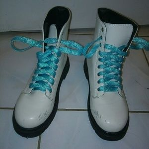 Forever 21 Shoes - White pleather combat style boots