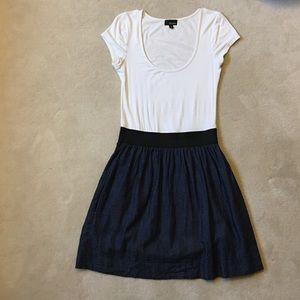Two-fer Dress White Tee Denim Skirt