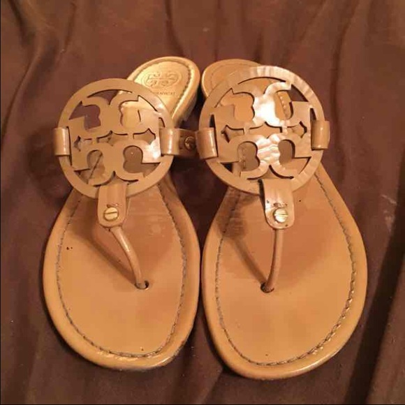 Tory burch sand patent Miller sandals 9.5 READ