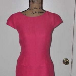 Pink drop waist flare dress