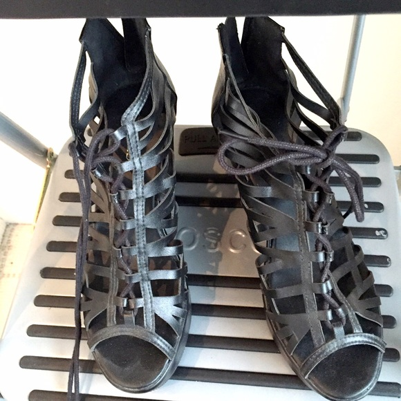 H&M Shoes - Like NEW H&M lace up black wedges