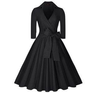 Vintage halloween v neck 3/4 sleeve midi dress S-L