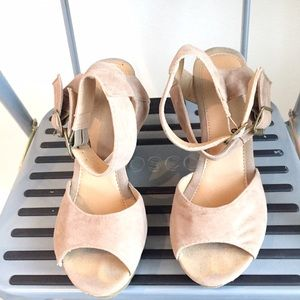 Like NEW F21 suede like nude wedge sandals