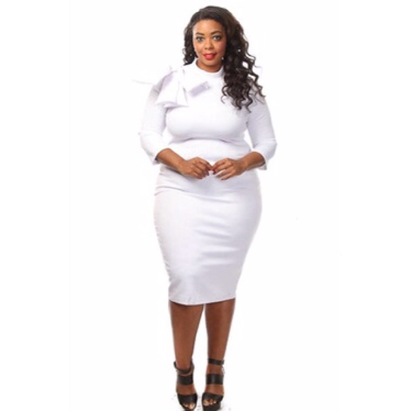 62% off Dresses & Skirts - White plus size bow Bodycon dress from ...